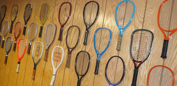 Wall of racquets from Kevin Deighan